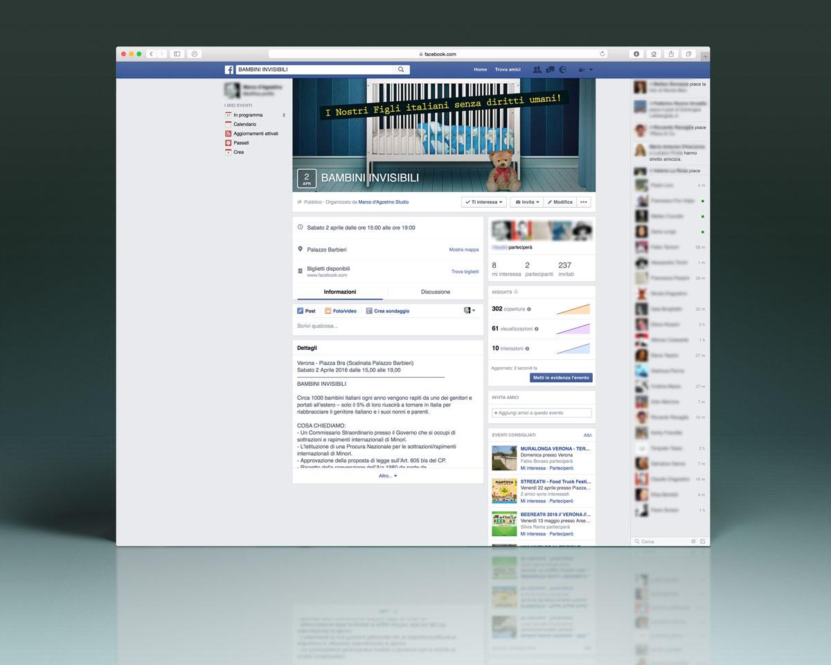 Figli Sottratti, Personalizzazione Pagina Facebook